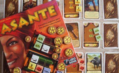 Componentes del juego de mesa Asante