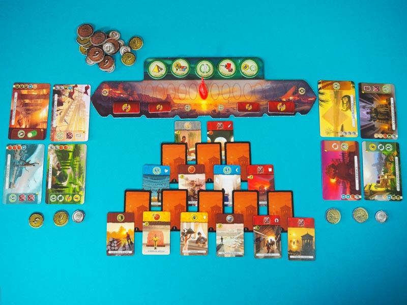 Todo listo para jugar la primera Era a 7 Wonders Duel