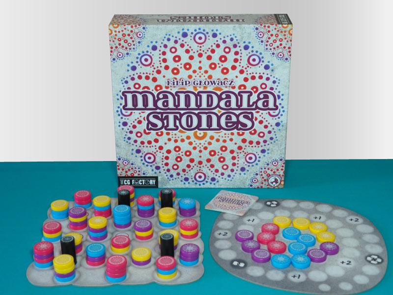 Componentes del juego de mesa Mandala Stones