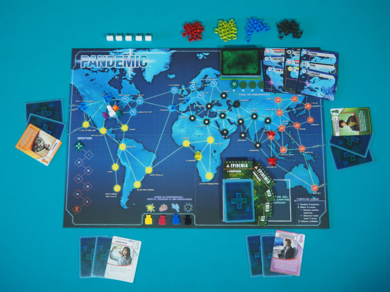 Setup listo para jugar una partida a 4 jugadores