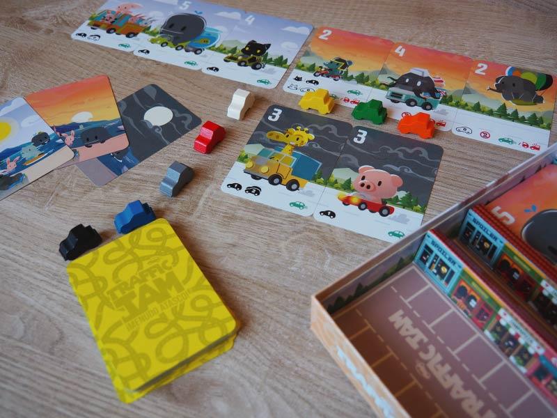 Diferentes tipos de cartas de Traffic Jam, de 3 a 8 jugadores