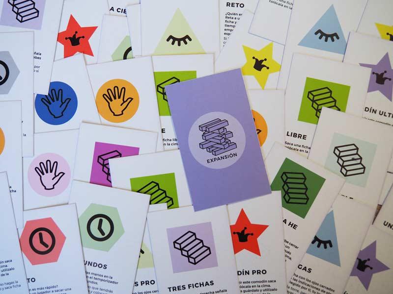 Tipos de cartas del juego de mesa Jenga