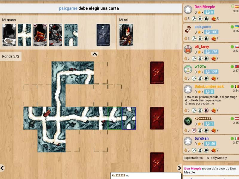Partida online al juego de mesa Saboteur en Board Game Arena