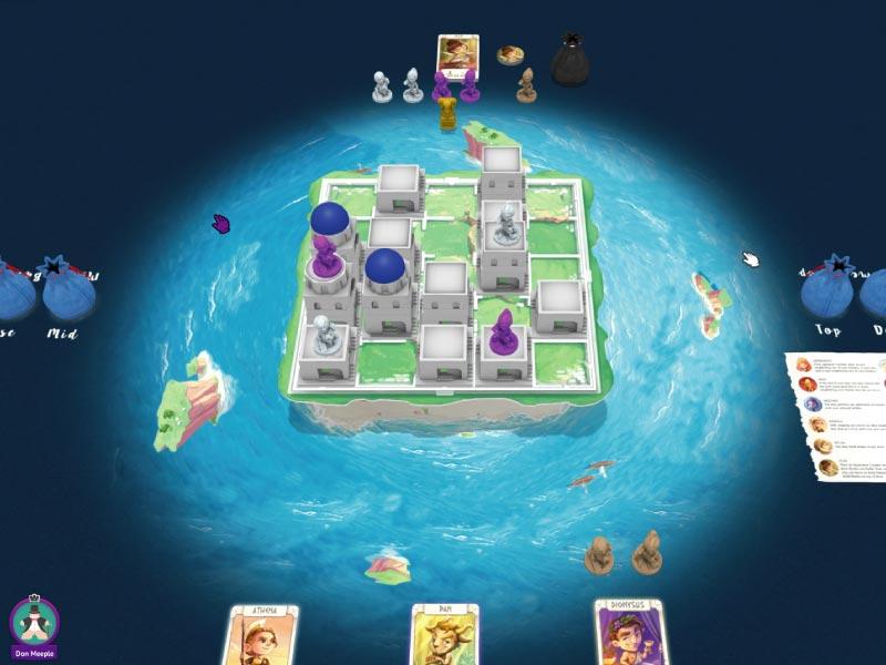 Partida online al juego de mesa Santorini en Tabletopia