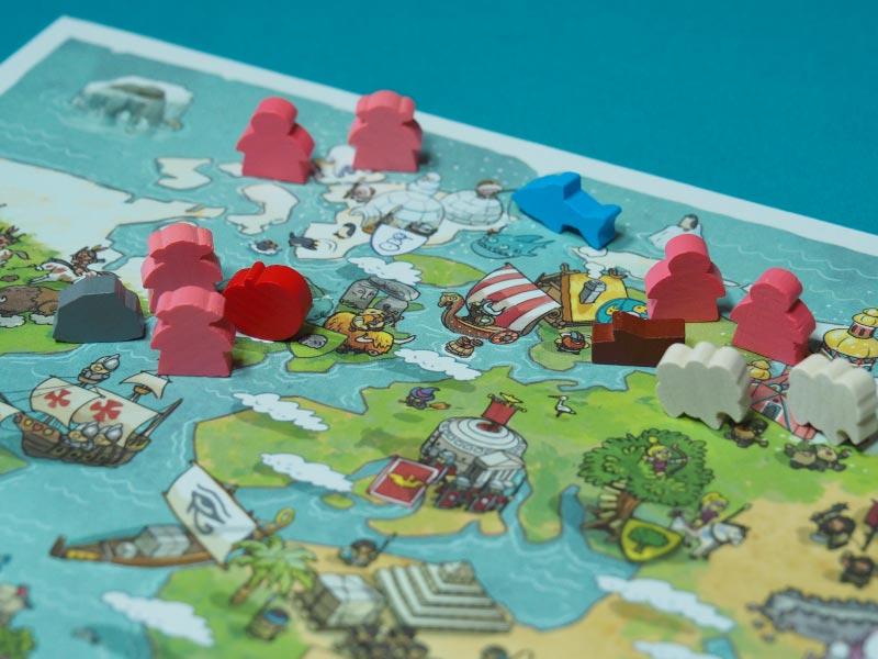 Mapa del juego de mesa, meeples y tipos de recurcos
