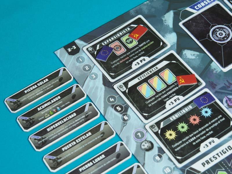 Las cartas objetivo espacial y las losetas de poder de reliquia